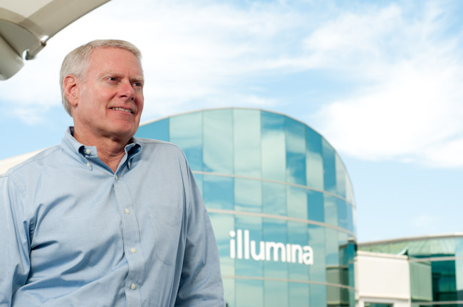 Jay Flatley is CEO of Illumina, a San Diego-based company that's racing to be the first to sequence a person's entire genome for $1,000.